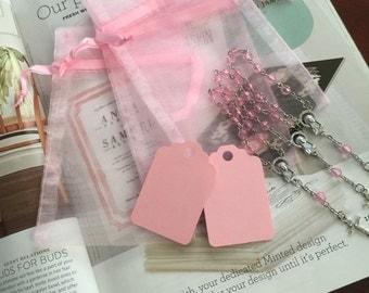 "30 wedding favors  or baptism favors 30 pcs Organza bags, 4"" x 2.75"" Pink organza bag ,30 PINK mini  rosaries  favor and 30 PINK tags ,"