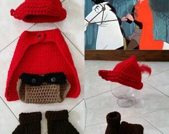 Crochet Disney Prince Phillip Outfit (hat, cape, diaper cover, boots)