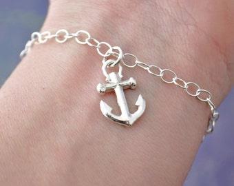 Anchor Bracelet, Sterling Silver Anchor Charm Bracelet , Nautical Bracelet, Nautical Charm, Anchor Jewelry, Beach Jewelry, Nautical Jewelry