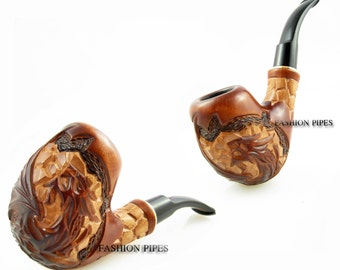 "New ""DRAGON"" Wooden Tobacco pipe, Smoking Pipe. Carving Handmade. Exclusive Design...Best Offer..."