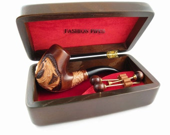 """New Pipe Set - Carved """"Dragon"""" Pipe & Wooden Gift Box + Tamper Tools, Wooden Tobacco Smoking Pipe Exclusive Designed For pipe Smokers"""