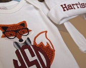 Dapper Fox Circle Monogram Onsie and Bow Tie Hat FREE PERSONALIZATION by Messy Kids Designs