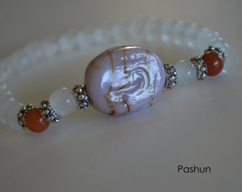 Yoga Stretch Bracelets ... Cloudy White and Lavender Bead (1382)
