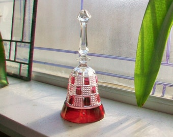 Vintage Glass Bell Ruby Red Flashed Glass