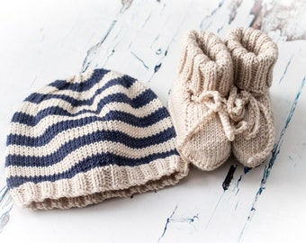 Hand Knit Baby Striped Beanie Hat and Booties Set -  Indigo & Clotted Cream -  handmade baby clothes, new baby gift, baby shower