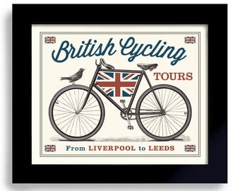 British Cyclist England Art Bicycle Art British Art Bike Art Great Britain Cycling Art English Decor Bicyclist Art Bike enthusiast