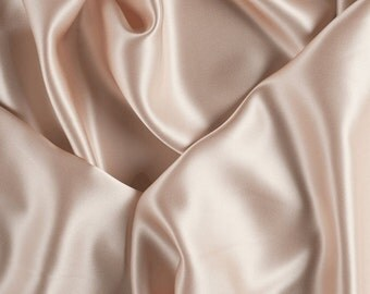 "42"" Wide Stretch Silk Charmeuse Pale Peach By the Yard"