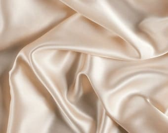 "42"" Wide Stretch Silk Charmeuse Cream By the Yard"