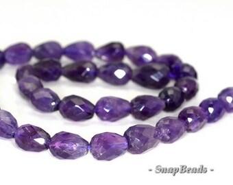 13x8mm Amethyst Gemstone Faceted Teardrop Loose Beads 7.5 inch Half Strand (90191279-B20-533)
