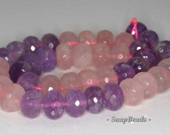 14x10mm Amethyst Rose Mix Quartz Gemstone Faceted Rondelle Loose Beads 7.5 inch Half Strand (90191119-B33-562)