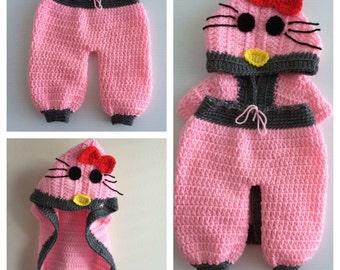 Crochet Hello Kitty Hooded Vest Pant Set