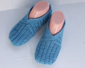 Blue Home Slippers, Hand Knit Women Slippers, Knit Wool Slippers