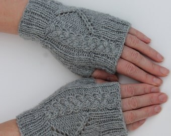 Hand Knit Grey Fingerless Mitts, Knit Teens Mitts, Knit Women Fingerless Mittens