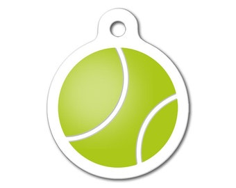 Sports Dog Tag - Tennis Ball - Personalized Pet Tags, Custom Pet Tags, Dog ID Tags, Cat ID Tags, Dog Tags for Dogs (Lime Green/White)