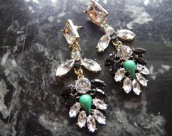 Fabulous Rhinestone Dangle, Shoulder Duster Pierced Earrings, Was 65.00, Now