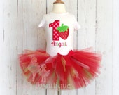 Strawberry Birthday TUTU Set- Red, Pink, and Green- Custom Birthday Outfit