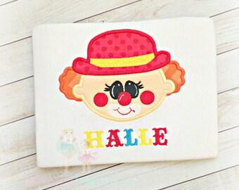 Circus Clown Applique Shirt- Boys- Girls- Birthday Circus- Cute clown face