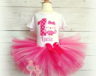 Owl birthday outfit - pink owl 1st birthday tutu outfit - pink birthday tutu - baby owl birthday outfit - owl themed birthday outfit