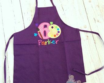 Birthday Girl Apron- Art Party- Paint Palette applique- Custom Personalized Purple Apron