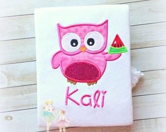 Owl with Watermelon Applique Shirt- Summer- Spring- Watermelon Applique- Pink Owl- Birthday- Custom embroidered shirt