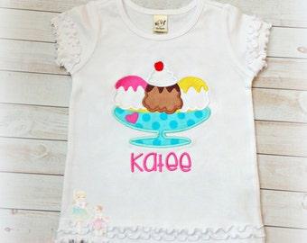 Ice cream shirt - personalized ice cream sundae shirt - ice cream birthday shirt - summer themed shirt - ice cream themed shirt for girls
