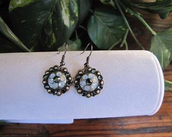 "3/4"" Antique Montana Opal Crystal Concho Earrings"