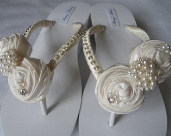 Ivory Bridal Wedge White Flip Flops / Wedding Satin Rolled Flower Flip Flops / Bridesmaids.