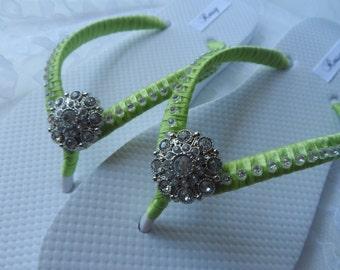 Lime Green Flip-Flops / Wedding Colors Flip Flops / Beach Flip Flops / Rhinestones Flip Flops / Bridesmaids...