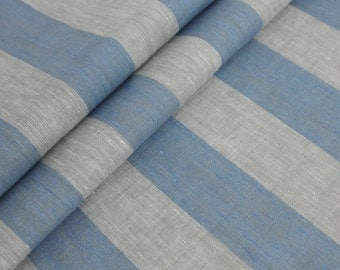 3 Yards linen fabric gray blue striped