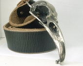 "Giant Real Raven Skull 5"" Belt Buckle White Bronze *without belt*"