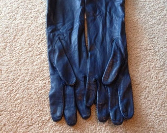 Vintage soft leather navy gloves size 7 1/4