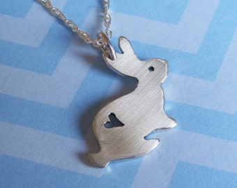 Bunny Pendant Heart Rabbit Pendant Rabbit Necklace Easter Necklace - Sterling Silver (925)