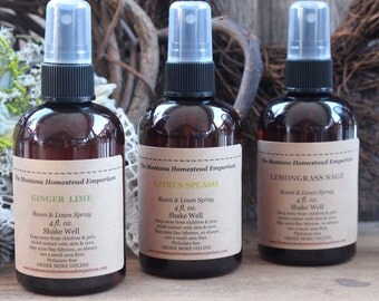 CITRUS SCENTS room and linen sprays 3 pack of Room & Linen Spray gift pack linen spray lemon lime lemongrass made in montana