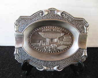 Souvenir metal ashtray w/stand from Hong Kong