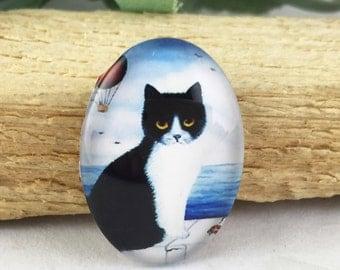 4pcs 18x25mm Oval Handmade Photo Glass Cabochon - Cat
