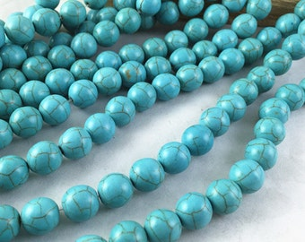 1 Strand 56pcs of Natural Turquoise Ball Beads Earring Findings 8mm