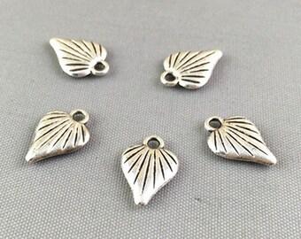 50pcs Antique Silver Mini Heart Charm Pendants 10x14mm Double Side 3D AB405-4