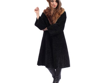 SALE...Black Fur Coat 50s PERSIAN LAMB Faux Fur Swing Coat Mink Fur Collar Retro Duster Bohemian Curly 1950s Coat  Outerwear Medium to Large