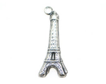 ON SALE! 20% OFF! Eiffel Tower Charm - Antique Silver - 12 Charms!