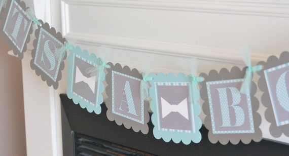 """Light Blue and Grey Stripes Baby Shower Little Man Bowtie, Necktie or Mustache """"Its a Boy"""" Banner - Ask About our Party Pack Special"""