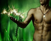 Lost Boy Playing with Fairies Version 2 Gay Art Male Art Photo Print by Michael Taggart Photography shirtless green muscle muscular strong