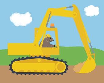 Construction Nursery Art - Wombat in an Excavator Digger