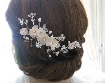 Jewelled bridal comb or crystal headpiece - Blush
