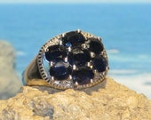 Sterling silver sapphire ladies / womens ring