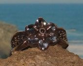 Sterling silver topaz marcasite ladies / womens ring