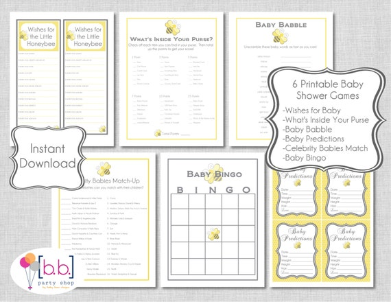 Bee Baby Shower Games (gray & yellow, neutral)-6 different games- PRINTABLE- INSTANT DOWNLOAD