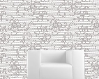 Removable Wallpaper- Lace Stocking- Peel & Stick Fabric Temporary Wallpaper-Repositionable-Reusable-Self Adhesive- FAST. EASY.