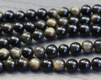 6mm Golden Sheen Obsidian Beads  - Natural - Grade A - 6mm Round Smooth - Half or Full Strand - Black Goldsheen Gold Beads