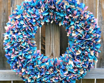 Choose Your Colors Wreath - Custom Wreath - Spring Wreath - Summer Wreath - Wedding Wreath - Shabby Wreath - Cottage Wreath - Rag Wreath