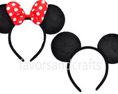 Set of 2-Minnie Mouse Ears, Mickey Mouse Ears, Minnie Ears, Mickey Ears, Minnie Headbands, Mickey Headbands, Red Bows, Birthday Favors